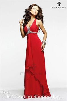 Red prom dress from Faviana, style 6916