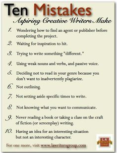 Ten Mistakes Aspiring Creative Writers Make