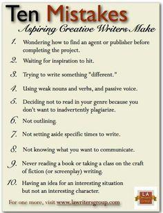 Ten Mistakes Aspiring Creative Writers Make