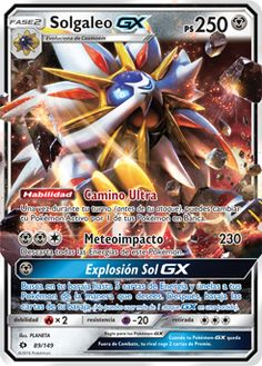 Solgaleo GX (Ultra R) (Holo) NM. Search your deck for up to 5 Energy cards and attach them to your Pokemon in any way you like. Then, shuffle your deck. Product Line: Pokemon - Sun & Moon Base Set - Singles. Pokemon Fusion, Charizard, Pokemon Stuff, Cool Pokemon Cards, Rare Pokemon Cards, Pokemon Trading Card, Trading Cards, Cool Stuff, Pokemon Cards