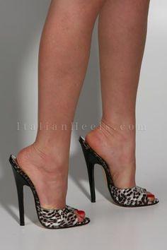 Mules High Heels   2084 ItalianHeels.com High Heels 6 inch Stiletto Black Leopard Mules ...