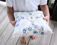 vintage ring pillow with blue floral design (by gathered) #handmade #wedding