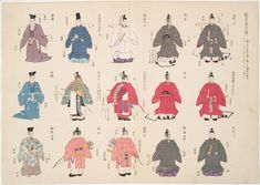 Image Title:  An illustration of costumes 1. Additional Name(s): Hagino, Yoshiyuki -- Compiler  Inobe, Shigeo -- Editor  Hayakawa, Junzaburô -- Editor  Yashiro, Kuniji -- Editor Alternate Source Title: Kokushi daijiten sashie oyobi nenpy¯o. Medium: colored woodcut, (Meiji 41 [1908]).