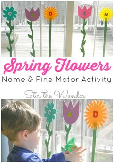 Spring Flowers Name & Fine Motor Activity is a fun way for toddlers and preschoolers to learn the letters of their name and strengthen fine motor muscles!