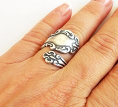 Steampunk Spoon Ring- Bypass Ring- Adjustable- Sterling Silver Finish on Etsy, $22.00