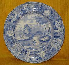 19thC Blue & White  Alnwick Castle  Plate c1830