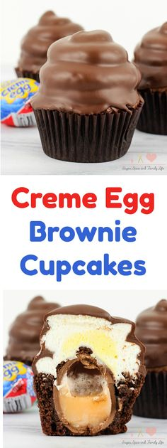 Creme Egg Brownie Cupcakes will be enjoyed by anyone who loves Creme Eggs. Each chocolate brownie cupcake is stuffed with a Creme Egg. Then toppedwith buttercream frosting and a chocolate coating. Creme Egg Brownie Cupcakes are the perfect Easter dessert. - Creme Egg Brownie Cupcakes Recipe from Sugar, Spice and Family Life