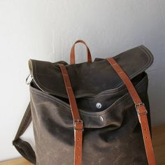 Waxed Canvas Backpack // Rucksack // Leather Straps // by infusion, $198.00