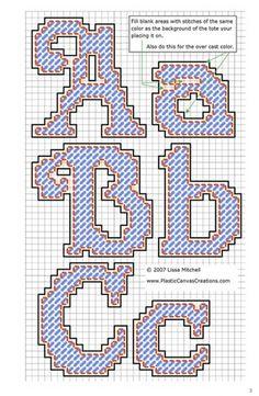 Alphabet Letters Cursive K Plastic Canvas Letters, Plastic Canvas Stitches, Plastic Canvas Ornaments, Plastic Canvas Crafts, Letter Patterns, Canvas Patterns, Needlepoint Stitches, Needlework, Crochet Stitches