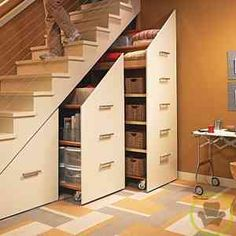 I've seen this before on a home improvement show, and think it is a great way to save and use space. pantry ideas space saving Under-Stair Storage Cabinets