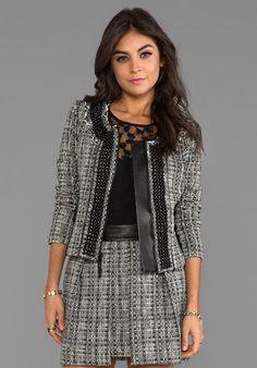 Milly Black and White Tweed Jacket in Black