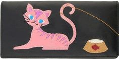 Pink Kitty Cat Goes Fishing Black Applique Wallet