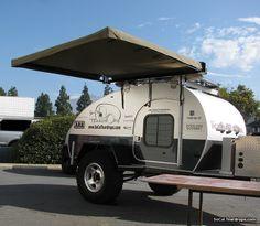 SoCal Krawler teardrop trailer featuring the Hannibal 1.8M (6ft) vehicle awning