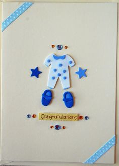 Hand Made Greetings Card - Baby Boy - Yellow. £3.00, via Etsy.