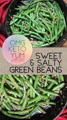 Omg Keto yum sweet and salty green beans - The perfect keto side dish this summer. Omg Keto yum sweet and salty green beans - The perfect keto side dish this summer. Low Carb Side Dishes, Side Dish Recipes, Low Carb Recipes, Healthy Recipes, Dishes Recipes, Vegetarian Recipes, Recipies, Vegetable Side Dishes, Vegetable Recipes