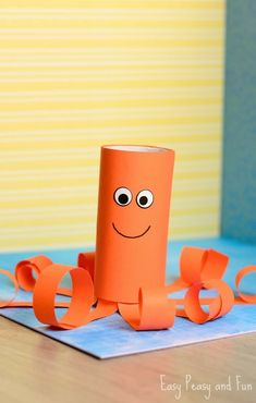 Toilet Paper Roll Octopus Craft is part of Kids Crafts Cards Toilet Paper Aching for a splash of ocean Join in and make a fun toilet paper roll octopus craft with us This little fellow will be don - Bee Crafts For Kids, Toddler Crafts, Easy Crafts, Art For Kids, Arts And Crafts, Crab Crafts, Octopus Crafts, Paper Towel Roll Crafts, Toilet Paper Roll Crafts
