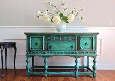 Antique Hand Painted French Country Renaissance Romantic Jacobean Style Turquoise Buffet Sideboard Cabinet Solid Wood Sideboard, Sideboard Cabinet, Cabinet Furniture, Cabinet Doors, Furniture Makeover, Furniture Ideas, Industrial Furniture, Vintage Furniture, Painted Furniture