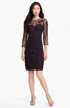 Patra Embellished Illusion Yoke Mesh Dress available at #Nordstrom