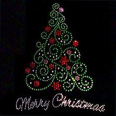 Women Tee Shirt Rhinestone T SM Short or Long Sleeve Merry Christmas Tree Christmas Mandala, Christmas Rock, Winter Christmas, Christmas Crafts, Christmas Decorations, Christmas Ornaments, Merry Christmas, Christmas Shoes, Holiday Decor