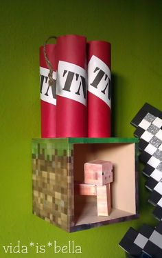 Minecraft Bedroom Decor    I can think of several boys that would love this   and look at how easy