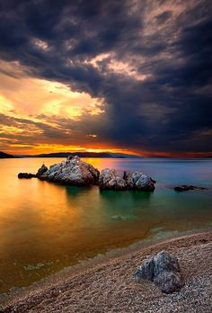 """Monica Crespo on LinkedIn: """"Sunset at Milia beach, Skopelos island, Northern Sporades, Greece"""" Most Beautiful Beaches, Beautiful Sunset, Sky Photos, Beach Look, Greece Travel, Greek Islands, Hercules, Slow Shutter, Shutter Speed"""