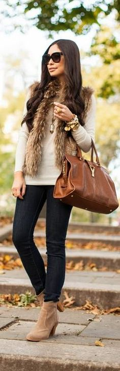 Faux Fur Vest + Booties