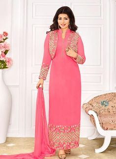 Shop Pink Straight Cut Suit online (SKU Code : at Ishimaya. Latest bollywood style suits, Straight cut suits online , designer straight suits and more for parties & family wedding functions. Bollywood Dress, Bollywood Fashion, Bollywood Style, Churidar Suits, Salwar Kameez, Patiala, Suit With Jacket, Online Shopping, Designer Suits Online