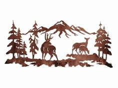 Deer Family in the Pines Metal Wall Art Metal Walls, Metal Wall Art, Deer Family, Wood Burning Patterns, Plasma Cutting, Scroll Saw Patterns, Pyrography, Paper Cutting, Stencils