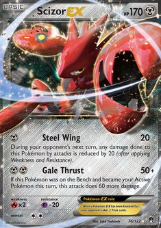 Scizor has a body with the hardness of steel. It is not easily fazed by ordinary sorts of attacks. This Pokémon flaps its wings to regulate its body temperature. Pokemon Umbreon, Charmander, Charizard, Pokemon Tcg Cards, Cool Pokemon Cards, Pokemon Games, Pokemon Go Cheats, Pokemon Online, Set Card Game