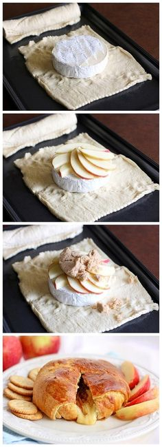 I have never had Brie but this looks so delicious! Brie, apples, and brown sugar are wrapped up in buttery crescent rolls. Eat this with apples or crackers for an elegant brunch appetizer. Think Food, Love Food, Yummy Food, Tasty, Appetizer Recipes, Party Appetizers, Holiday Appetizers, Brunch Recipes, Appetizer Ideas