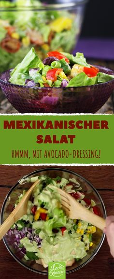 Mexican salad with avocado dressing: salad recipe for a meal without a guilty conscience. Mexikanischer Salat mit Avocado-Dressing: Salat Rezept für eine Mahlzeit ohne s… Mexican Salad Recipes, Salad Recipes Healthy Lunch, Mexican Salads, Avocado Salad Recipes, Salad Recipes For Dinner, Chicken Salad Recipes, Healthy Salad Recipes, Vegetarian Recipes, Mexican Avocado