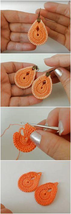 How To Crochet Simple Earrings Crochet Simple, Crochet Diy, Crochet Bear, Love Crochet, Crochet Gifts, Crochet Flowers, Knitting Patterns, Crochet Patterns, Knitting Ideas