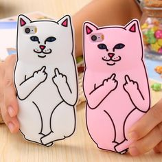 3D Soft Silicon Cat Phone Case For iPhone 6 6s Plus 5 5s Cartoon Animals Rubber Middle Finger Capa Cover