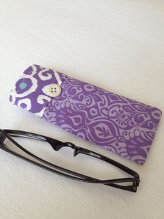 Oh how I love Kate Spain's fabrics! Reading Glasses Case  orchid purple and cornflower blue by thesewingmachine