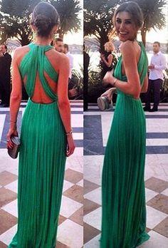 Elegant Green Long Chiffon Evening Dress Halter Cross Back_High Quality Wedding & Evening Prom Dresses at Factory Price-27DRESS.COM