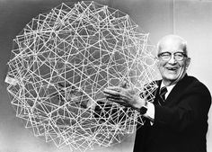 """garadinervi: """" Richard Buckminster Fuller holds up a Tensegrity sphere April 1979 [PBS] """" Modern Architects, Famous Architects, Richard Buckminster Fuller, Geodesic Sphere, Expo 67, Man Vs, Bucky, Art And Architecture, Classical Architecture"""
