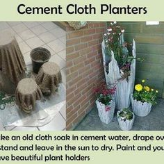 Old cloth + cement = Flower pots! Can you believe how simple it is? Here is the instructions, but basically you simply take used clothes, soak them in cement water. Then drape them over a stand and let them dry. And lastly, paint them in your favorite color to get your beautiful planting pots...