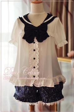 Dear Celine Sailor Style Dolly Blouse