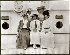 """1905 FAR EAST DIPLOMATIC TOUR -  ALICE ROOSEVELT with other ladies aboard """"SS Manchuria.""""  (1905)"""