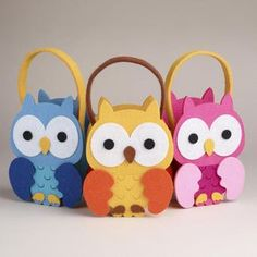 One of my favorite discoveries at WorldMarket.com: Felt Birthday Owls Containers, Set of 3