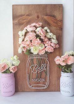 Tarro jarrón flor rosa blanco clavo hilo tornillo madera verde