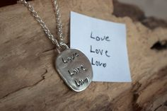 Custom Handwriting Necklace - Memorial Jewelry, Silver Handwriting Pendant, Personalized Necklace, Kid's Drawing Jewelry, Mom Jewelry by handmadebySFDesigns on Etsy Memorial Jewelry, Memorial Gifts, Handwriting Samples, Childrens Artwork, Mom Jewelry, Gold Jewellery Design, Personalized Necklace, Drawing For Kids, Gifts For Mom
