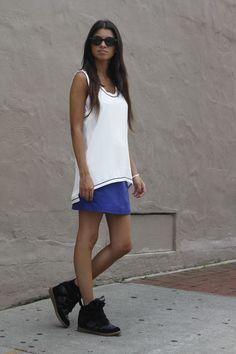 #blogger #fashionblog #fashionroll #cobaltbluefauxleatherskirt #zaratop #stevemaddenwedgesneakers #raybanwayfarers #summerstyle