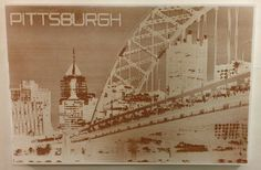 Engraved Wood Pittsburgh Wall Art  24x36 by MLZDESIGN on Etsy