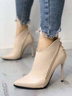 Shop Solid Zipper Design Pointed Toe Thin Heels right now, get great deals at Jo., heels pumps Shop Solid Zipper Design Pointed Toe Thin Heels right now, get great deals at Jo. Shoes Heels Pumps, Stilettos, Stiletto Heels, Women's Shoes, Heeled Sandals, Shoes Sneakers, Pretty Shoes, Beautiful Shoes, Buy Shoes