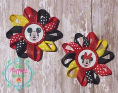 TWO Disney Mickey and Minnie Mouse inspired  Loopy flower Boutique hair bows, , grosgrain bow,, hair bows, girl hair bows