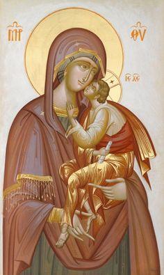 Theotokos - by George Kordis Byzantine Icons, Byzantine Art, Religious Icons, Religious Art, Blessed Mother Mary, Madonna And Child, Orthodox Icons, I Icon, Children Images