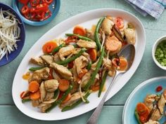 Red Curry Chicken Stir-Fry from CookingChannelTV.com  If additional spices are desire for more kick, make a thick sauce of: ginger, garlic, lemon grass, chili, galangal and curry powder.