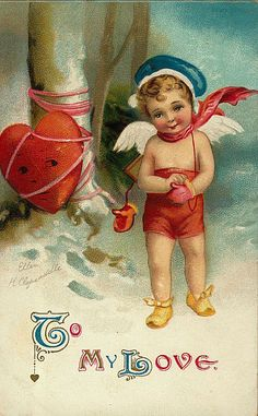 """If you love the heart, let him go.  If he's yours, he'll come back...  And why are your wearing mittens & a scarf, but no shirt?  """"To My Love""""..... Valentine 's Day Antique Postcard. Ellen Clapsaddle ,artist."""