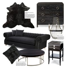 """""""Black Decor"""" by kathykuohome ❤ liked on Polyvore featuring women's clothing, women's fashion, women, female, woman, misses, juniors, black, Home and homeset"""